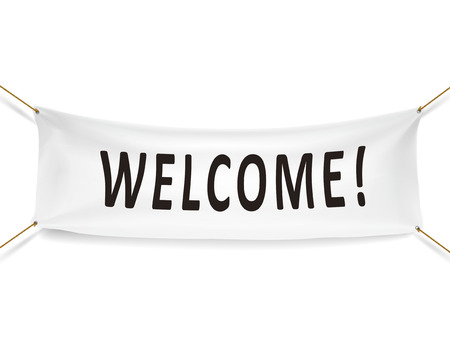 welcome white banner isolated over white background