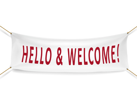 hello and welcome white banner isolated over white background