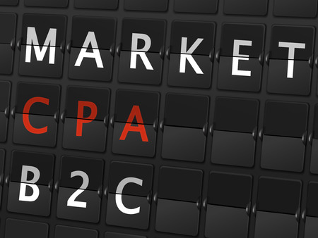 b2c: market CPA B2C words on airport board background