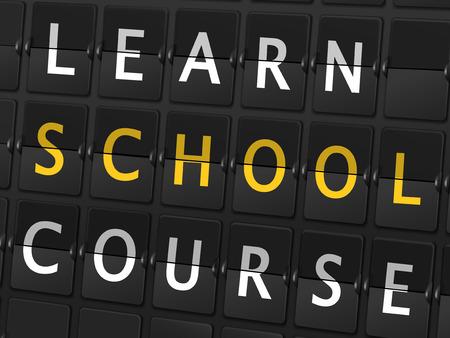 flight board: learn school course words on airport board background