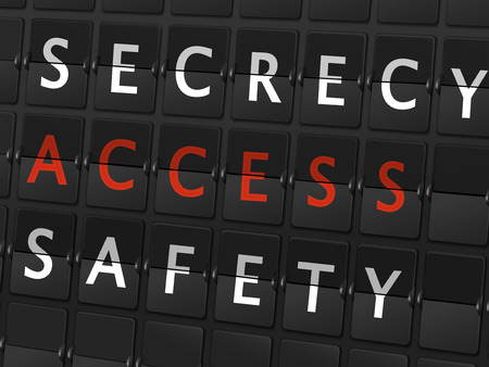 secrecy: secrecy access safety words on airport board background