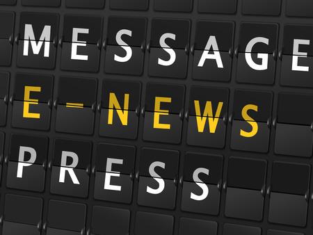 newsprint: message e-news press words on airport board background