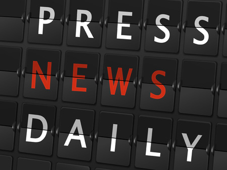press news: press news daily words on airport board background Illustration