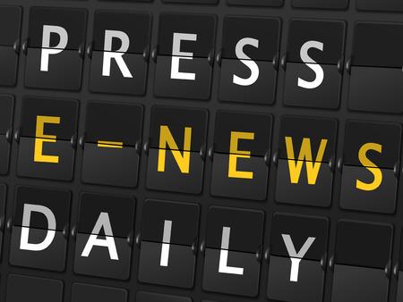 e magazine: press e-news daily words on airport board background