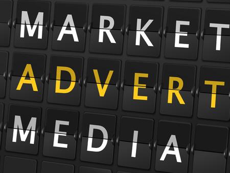 pr: market advert media words on airport board background