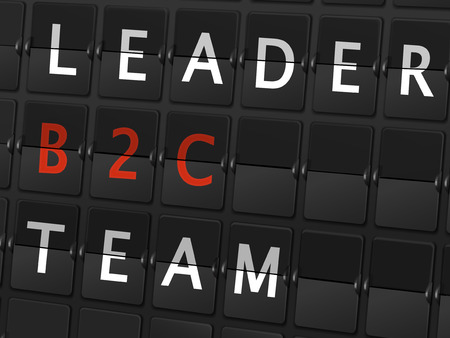 b2c: leader B2C team words on airport board background Illustration