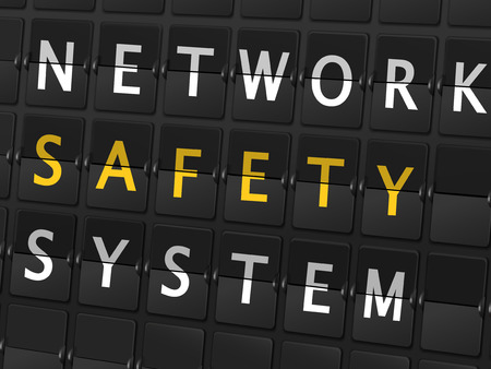 computer attack: network safety system words on airport board background