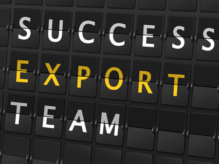 consult: success export team words on airport board background Illustration