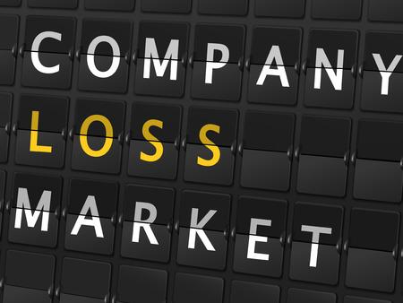company board: company loss market words on airport board background