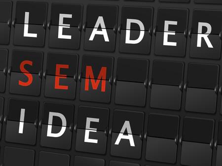 sem: leader sem idea words on airport board background