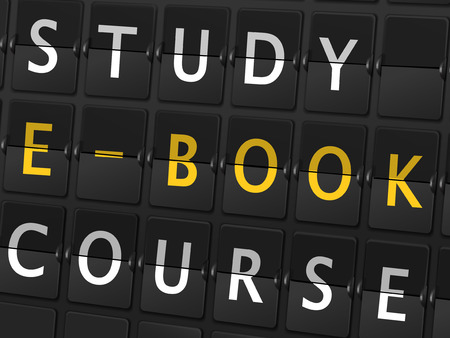 study e-book course words on airport board background