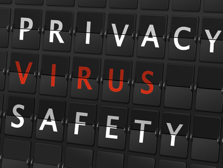 computer attack: privacy virus safety words on airport board background
