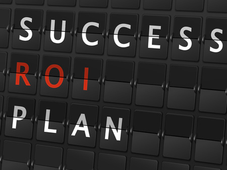 consult: success ROI plan words on airport board background