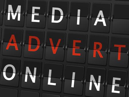 advert: media advert online words on airport board background Illustration