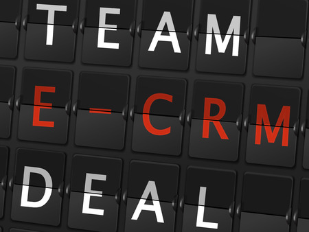 ecrm: team E-CRM deal words on airport board background