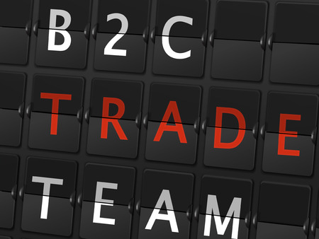 consult: B2C trade team words on airport board background