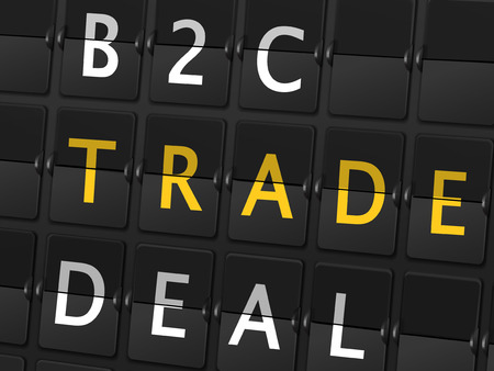 b2c: B2C trade deal words on airport board background Illustration