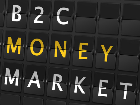b2c: B2C money market words on airport board background Illustration