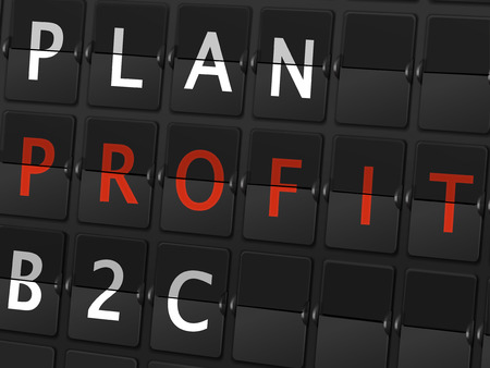 b2c: plan profit B2C words on airport board background Illustration