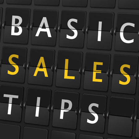 basic scheme: basic sales tips words on airport board background
