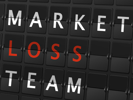 consult: market loss team words on airport board background Illustration