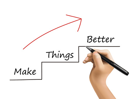 make things better written by 3d hand over white Vector