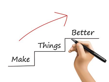better performance: make things better written by 3d hand over white Illustration
