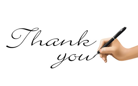 thank you words written by 3d hand over white Vector