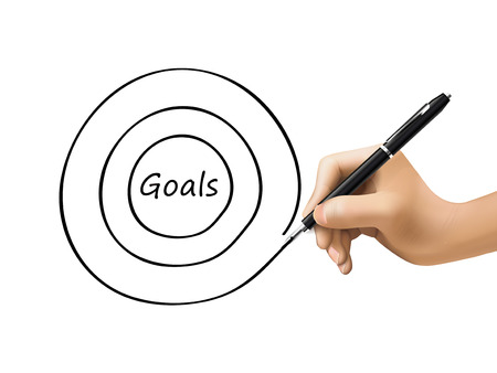 prioridades: metas palabra escrita por la mano 3d sobre blanco