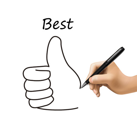 thumb up icon: best word and thumb up icon drawn by 3d hand over white