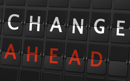 adapting: change ahead words on airport board background