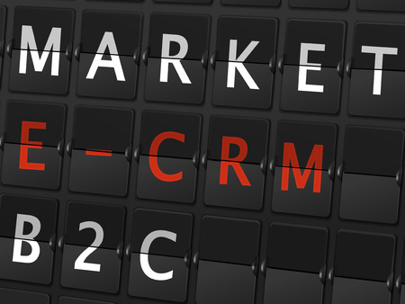 b2c: market E-CRM B2C words on airport board background Illustration