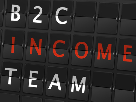 b2c: B2C income team words on airport board background