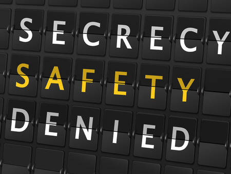 secrecy: secrecy safety denied words on airport board background Illustration