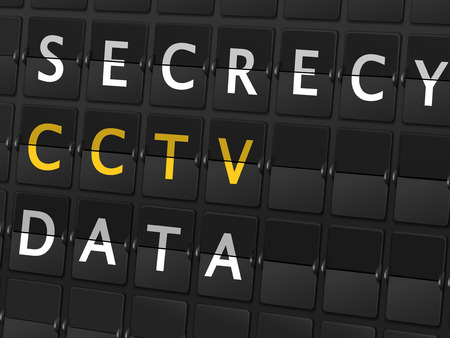 secrecy: secrecy CCTV data words on airport board background