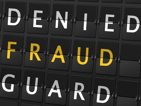 denied: palabras de guardia fraude negados en el fondo tablero aeropuerto