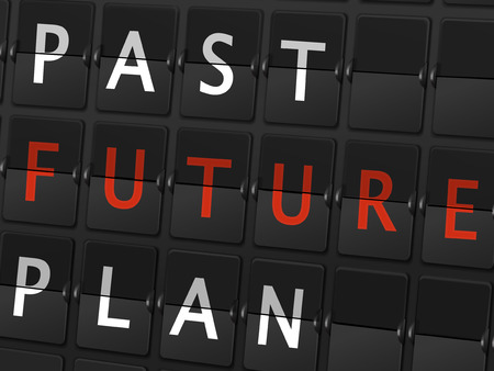 past future plan words on airport board background