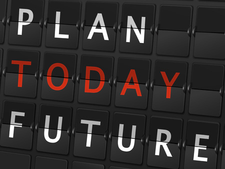 chronology: plan today future words on airport board background Illustration