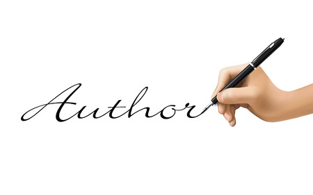author word written by 3d hand over white