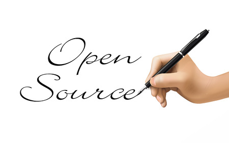freeware: open source words written by 3d hand over white