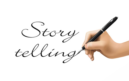 tell stories: story telling words written by 3d hand over white