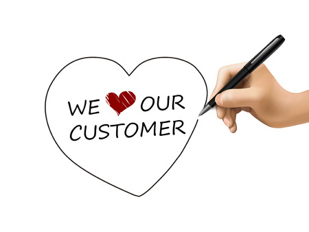we love our customer written by 3d hand over white Vector