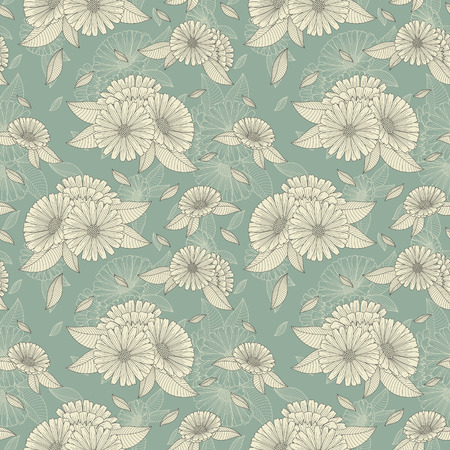botanics: chamomile retro seamless pattern over blue background Illustration