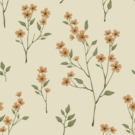 retro seamless floral pattern over beige background 일러스트