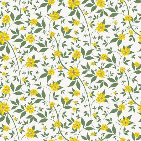 작은 노란색 꽃과 원활한 꽃 배경
