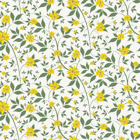 seamless floral background with small yellow flowers Иллюстрация