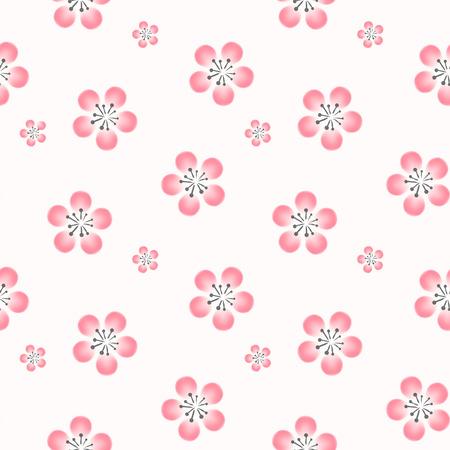 elegant cherry blossom seamless pattern background over white