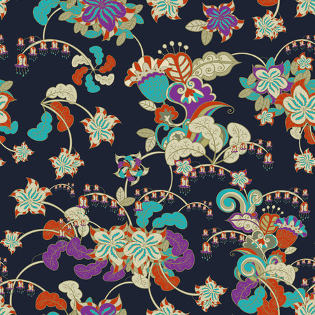 ornamental colored seamless floral pattern over blue Vector
