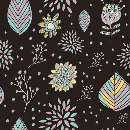 adorable cartoon seamless pattern with flowers and leaves Vector