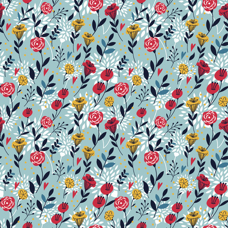 amiable: elegant cartoon seamless pattern with flowers and leaves